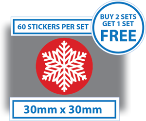 60 x Christmas Stickers Snowflakes Card Decorating Present Seals Labels 30mm Red