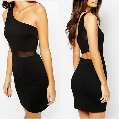 Missguided Black One Shoulder Mesh Bodycon Dress Size 8 10 US 4 6 Blogger❤
