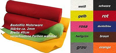 Bastelfilz, Filz, Meterware, Breite 45cm, Stärke ca. 2mm (versch. Farben)  *NEU*