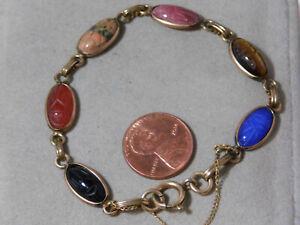 Vintage-12k-or-Rempli-Gen-Sculpte-Pierre-Scarabee-Coleoptere-7-034-Bracelet-1d-42