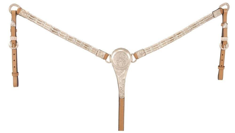 Montura Western muestran virolas plata breastcollar - - aceite ligero de cuero