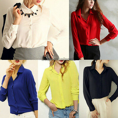 Women's Lady Loose Long Sleeve Chiffon Casual Blouse Shirt Tops Fashion Blouse