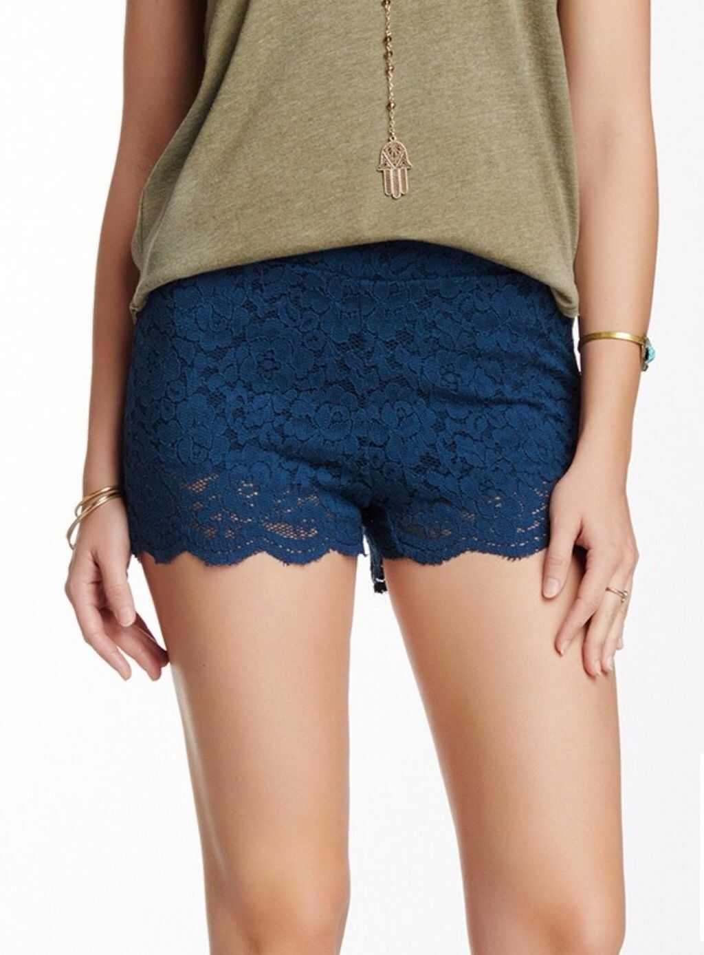 Free People Midnight bluee Stretch Floral Lace Biker Shorts F025P334S - MSRP  68