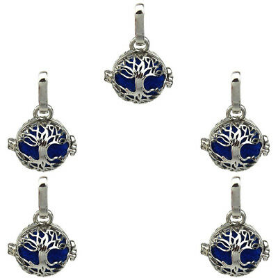 5PCS Silver Wolf Moon perles cage Médaillon Pendentif Charm K1165