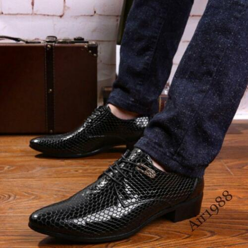 Mens Dress Shoes Pointy Toe Faux Snakeskin Lace Up Mens Formal Dress Shoes Hot