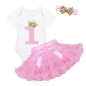 626fb1bc88209 Details about Baby Girl 1st Birthday Party Outfit Bodysuit Dress Kids Tutu  Romper Headband Set