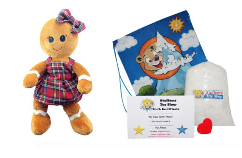 """Kit W Make Your Own Stuffed Animal Ginger the Gingerbread Girl Kit 16/"""" No Sew"""