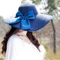 Women Ladies Folding Large Hat Cap Wide Brim Straw Summer Sun Floppy Beach