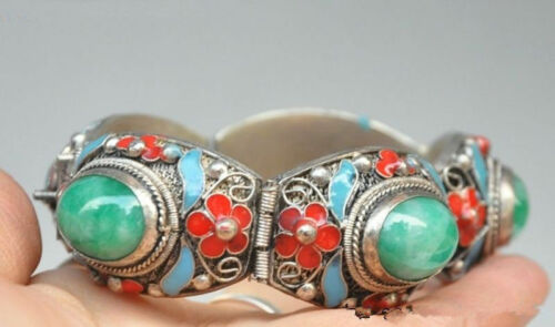 Exquisite CHINESE CLOISONNE SILVER INLAID JADE BRACELET RT