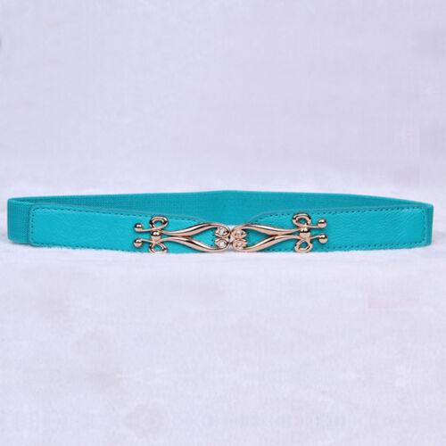 Womens Ladies Stretch Buckle Elastic Waist Belt Leather Wide Skinny Waistband UK
