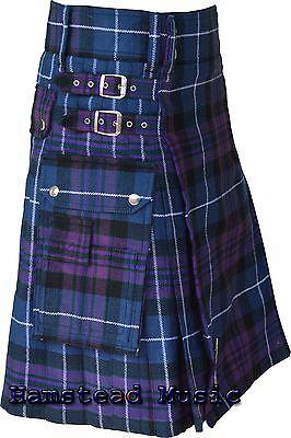 Scottish Highland Pride Honor of Scotland Tartan Utility Pocket Active Men Kilts