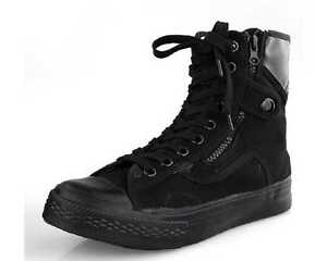 Fulinken-Size-5-11-New-Fashion-Canvas-Casual-Military-Zip-Ankle-Boots-Mens-Shoes