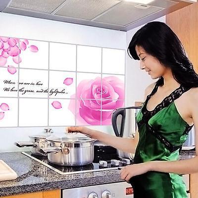 Waterproof Bathroom Tile For Wall Sticker Home Decor Sticker Big Rose Flower