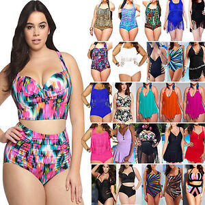 094e817249f Image is loading Womens-Plus-Size-High-Waisted-Swimsuit-Sports-Swimwear-