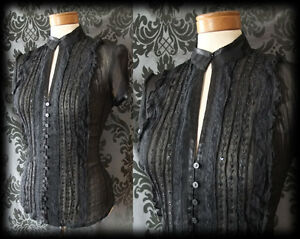 Gothic-Black-Frilled-Bead-Detail-FOREVER-amp-AGAIN-Blouse-8-10-Victorian-Vintage