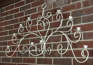 Details About Vintage Shabby Wrought Iron Wall Art Decor 10 Taper Votive Candelabra 42 Long