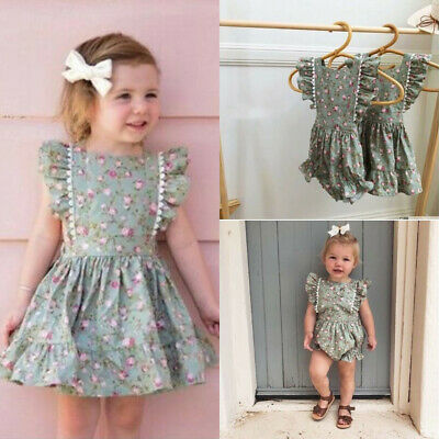 UK Newborn Kids Baby Girls Sister Matching Floral Jumpsuit Romper Dress Clothes