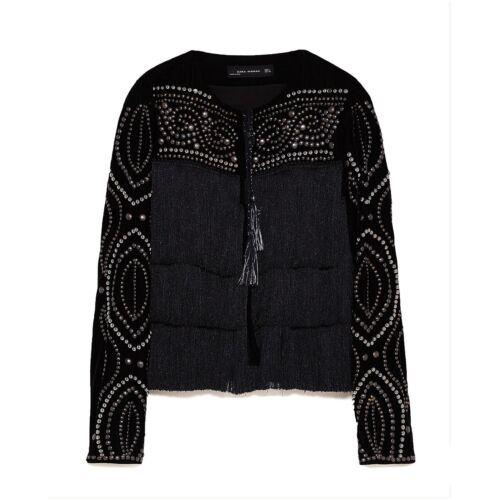 Zara Women Fringed Velvet Jacket Size M NWT