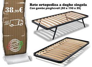 Rete letto ortopedica doghe singola 80x190 gambe pieghevoli ...