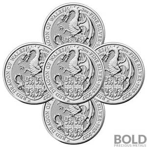 2017-Silver-Great-Britain-Queen-039-s-Beasts-The-Red-Dragon-2-oz-5-Coins
