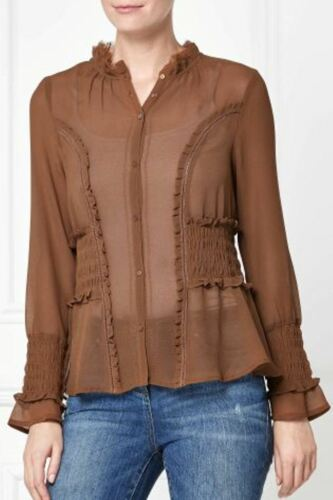 BNWT NEXT Tan Ginger Brown Long Sleeved Chiffon Blouse RRP £30