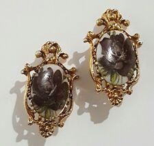 Vintage Hand Painted Porcelain Gold tone FLORENZA Signed Flower Clip Earrings