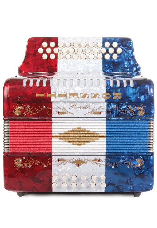 Rossetti 31 Button Accordion 12 Bass Usa FBE Flag