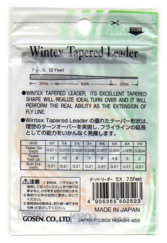 4.5lb 5 pack Gosen Wintex Fly Fishing Knotless Tapered Leaders 5X 7.5ft GK-815