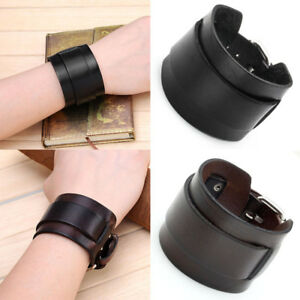 Punk-Mens-Womens-Unisex-Wide-Genuine-Leather-Belt-Bracelet-Bangle-Wristband-Cuff