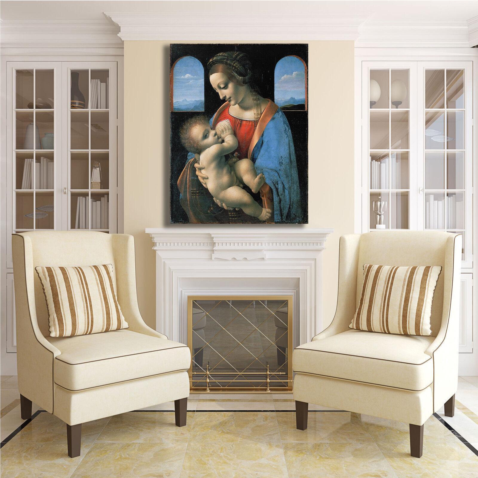 Da Vinci dipinto Madonna Litta design quadro stampa tela dipinto Vinci telaio arrossoo casa 455ff6