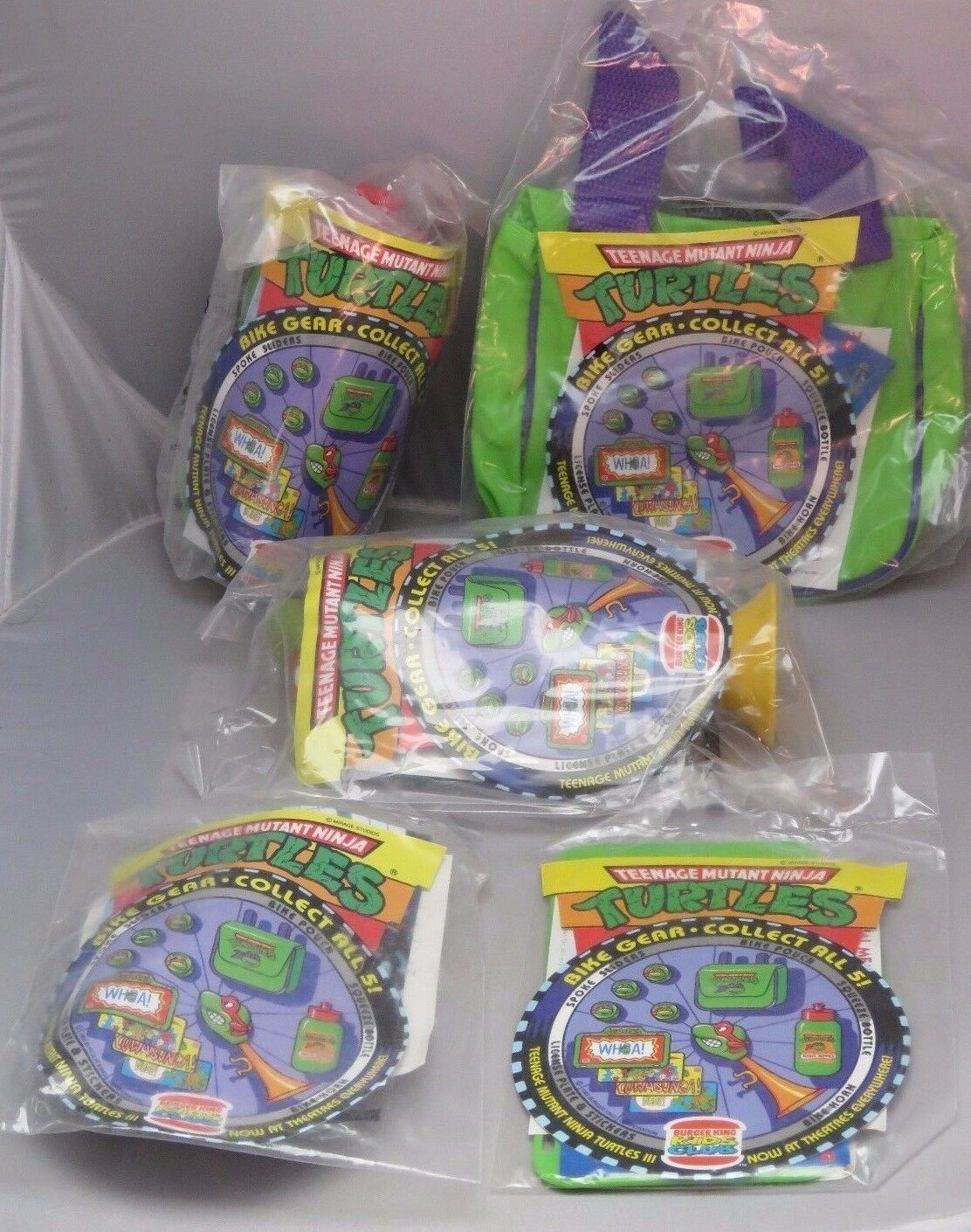 Vintage TMNT Teenage Mutant Ninja Turtle 1993 Burger King Kids 5 piece bike set