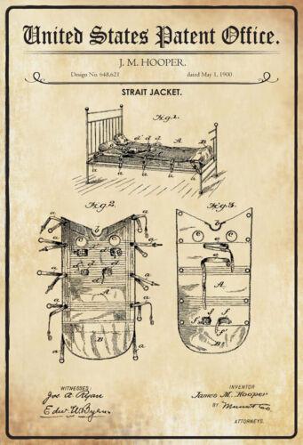 Blechschild Patent für eine Zwangsjacke Metallschild 20x30 Deko tin sign