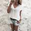 Femmes-Manches-Courtes-Col-V-Mousseline-de-soie-Tops-chemisier-loisirs-d-039-ete-dentelle-T-shirt miniature 7