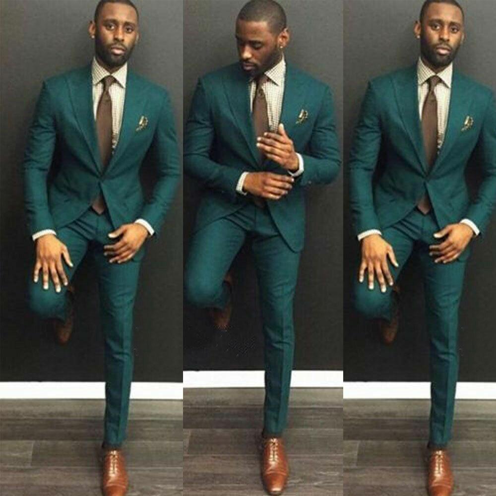 Men's Dark Green Wedding Suits 3 Piece Groom Tuxedos Formal Slim Fit Party Suits