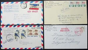 US-Postage-Set-of-4-Airmail-Covers-Patriotic-Stamps-USA-Airmail-Letters-Y-178
