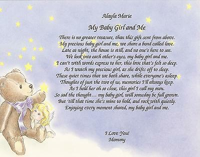 Personalized Poem My Baby Girl Amp Me From Mommy Choose Art