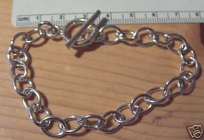 """8.5/"""" Heavy 14gram 7x10mm Oval Link Sterling Silver Charm Bracelet Toggle Clasp"""