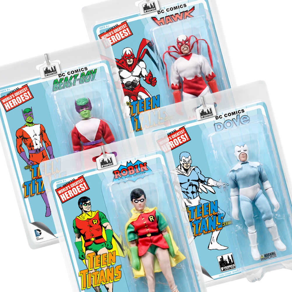 DC Comics Teen Titans Series 2 Mego Style Action Figures: Set of all 4
