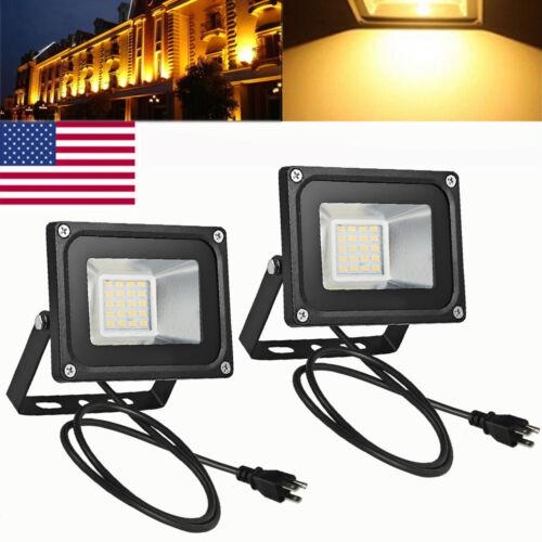 2X 20W US Plug LED Flood Light Warm White Outdoor Garden SMD Lamp Spotlight 110V