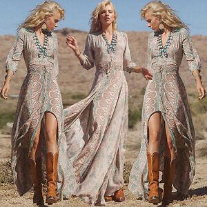 Chiffon-Maxikleid-Boho-Hippie-Sommerkleid-Partykleid-Abendkleid-Kleid-34-36-38
