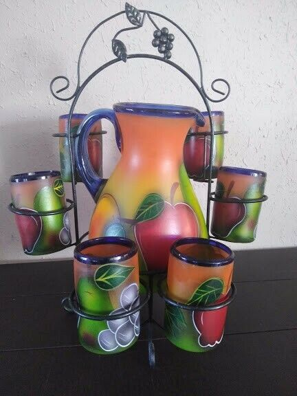 Mexican Glassware - hand made glass work and fruit themed painted