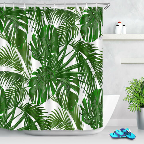Tropical Leaves Palm Shower Curtain Set for Bathroom Bath Accessories Extra Long