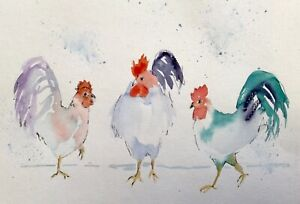 THREE-CHICKENS-ORIGINAL-PRINT-OF-WATERCOLOUR-BY-DIANE-ANTONE-IDEAL-XMAS-GIFT