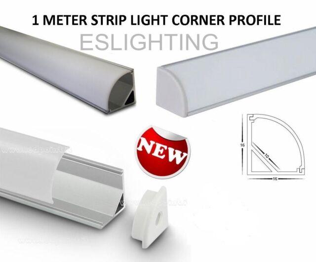 1M 3528 5050 5630 7020 CORNER STRIP LIGHT LED PROFILE FROSTED CABINET KITCHEN