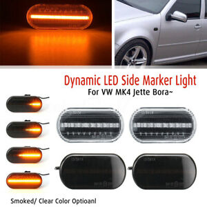 2x Dynamic Flowing LED Side Repeater Indicator Light For VW MK4 Golf Passat