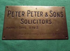 "C1900 Brass Peter Peter & Sons Solicitors Antique Sign Plaque 11"" X 6"" 1 Kg Antiques"