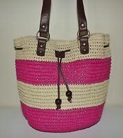 Sun & Sand Women's Straw Drawstring Bucket Tote Shoulder Bag Natural/pink