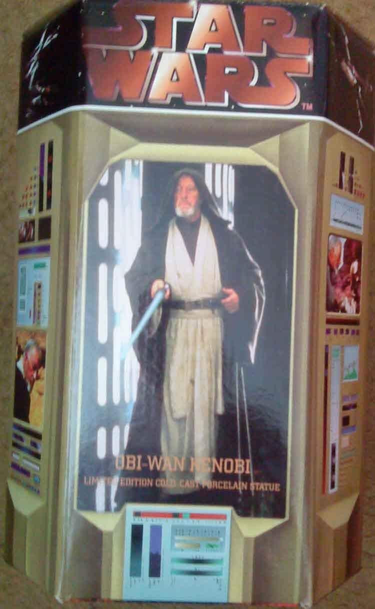 STAR Wars Obi Wan Frossodo Gettare Gettare Gettare Statua di porcellana Ltd 1000 COA firmata da entrambe scultor d224b2