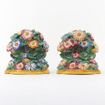 Antiques Pair Of Polychrome Italian Deruta Faience Pottery Bookends Ceramics & Porcelain