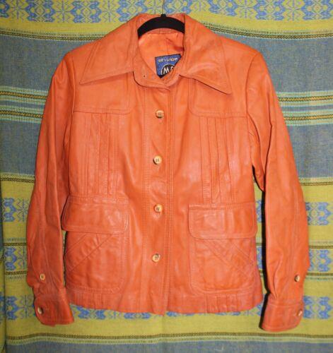 Women's Vintage 1970s Orange Leather Jacket Coat O
